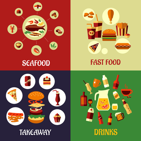 burger and fries: Seafood, fast food, takeaway and drinks flat icons on colorful background for restaurant, cafe or infographics design