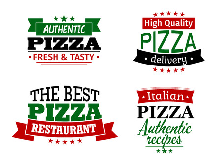 Pizza labels and banners set with authentic, best restaurant, delivery and italian headers Vector