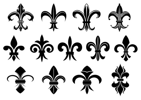 Black royal fleur de lis flowers set isolated on white background for heraldry or tattoo design Иллюстрация