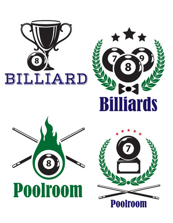 billiards cues: Various billiards or poolroom emblems or symbols on white background woth crossed cues and sport trophy Illustration