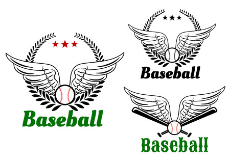 wing logo: Baseball emblems with angel wings, ball, laurel wreath and crossed bats for sports design Illustration