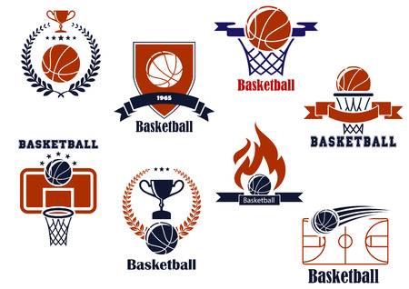Basketball tournament and emblem designs with wreath, ball, Vector