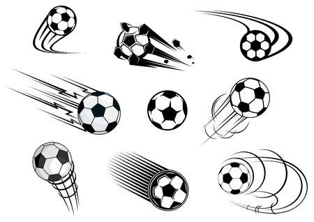 pelotas de futbol: Fflying balones de f�tbol fijados con estelas de movimiento para el emblema deportivo y dise�o de logotipo