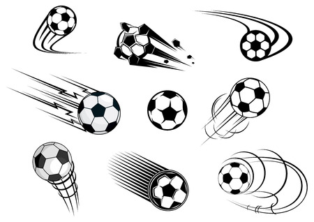 Fflying soccer balls set with motion trails for sports emblem and logo design
