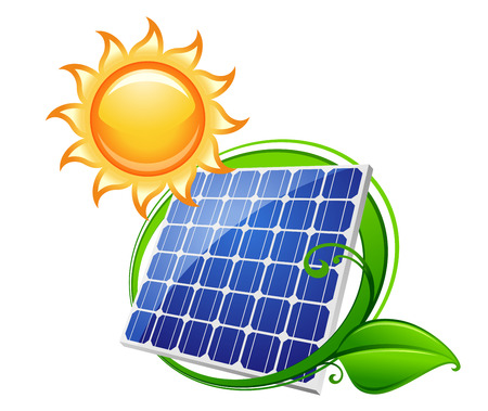 solar battery: Solar panel or battery with shining sun for technology, ecology and environment concept design