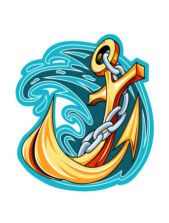 ship anchor: Cartooned ship anchor on blue water for marine and nautical design or emblem Illustration