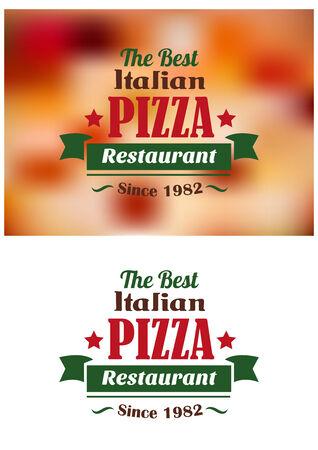 pizzeria label design: Italian pizza restaurant label or banner for fast food industry design
