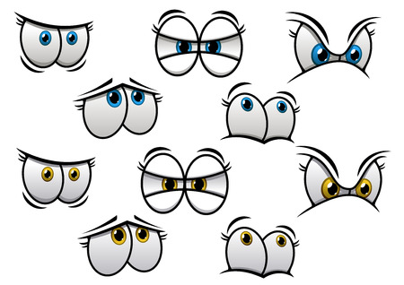 Cartoon eyes with different emotions for comics and fairytale design isolated on white backgroun. Vector elements