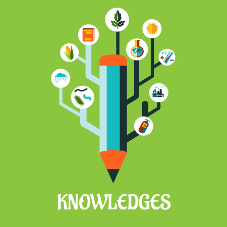 knowledge concept: Creative knowledge concept as growing pencil with science icons and symbols