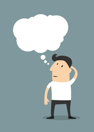 Male cartoon character wearing casual clothes while standing up and thinking with a blank thought bubble