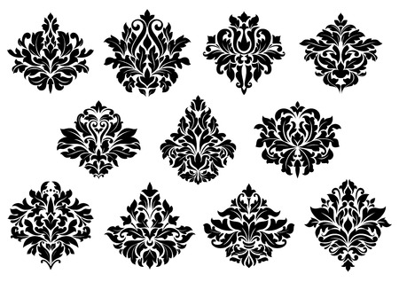 Damask floral design elements set with black flowers isolated on white background