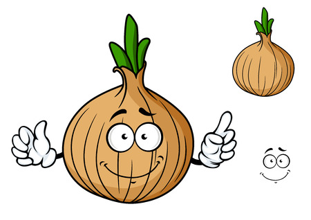 Cartoon onion vegetable character with happy smiling face and separate elements isolated on white background