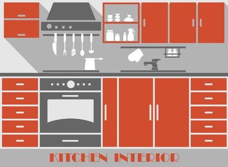modern kitchen interior: Modern kitchen interior in flat style with brown furniture and kitchen appliances