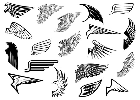 gothic angel: Heraldic vintage birds anfd angel wings set for tattoo, heraldry or religion design