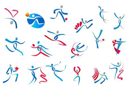 atletismo: Juguetones y bailando Iconos de la gente en cintas azules y rojas aisladas sobre fondo blanco para el deporte o el dise�o del logotipo de la danza
