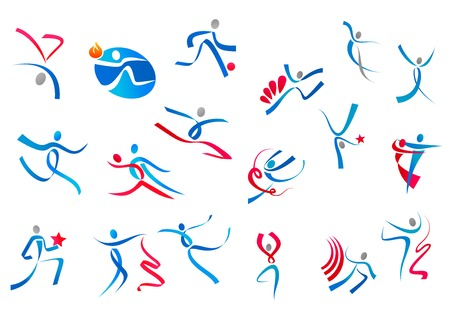 sport logo: Sportive and dancing people icons in blue and red ribbons isolated on white background for sports or dance logo design