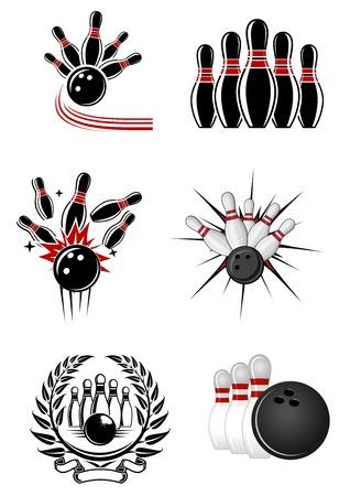 bowling pin: Bowling sports emblems and symbols with ball, ninepins and laurel wreath