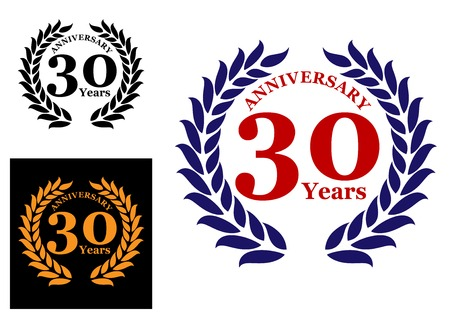 award badge: Laurel wreath with 30 years anniversary isolated on white background, three variations