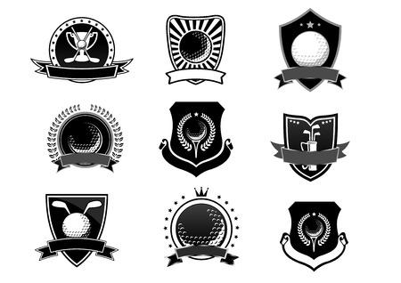 Golf sport emblemen en symbolen set, heraldische stijl voor toernooi of logo-ontwerp