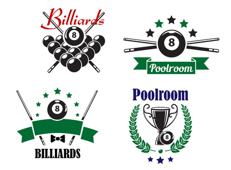 8 ball pool: Billiards or Poolroom game badges or emblems with bal, crossed cues, ribbons, banners, wreath and trophy cup, vector illustration on white