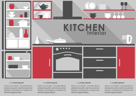 Kitchen Interior flat design in gray and red with long shadows with space for infographic text showing a fitted kitchen with applinaces, kitchenware on shelves and cabinets