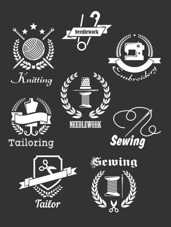 White handicraft icons, emblems, badges with symbols for tailoring, sewing, knitting, needlework and embroidery