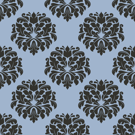 Gothic Floral Seamless Pattern With Gray Flowers On Lighter Blue