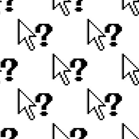 Seamless background pattern of black and white pixelated upward pointing arrows and question marks in a repeat motif in square format Vector