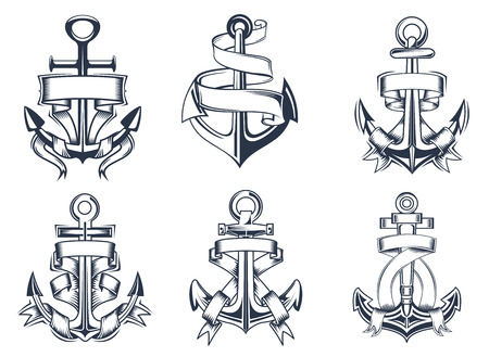 ancla: Marina o náuticas barcos temáticas iconos de anclaje con banderas de la cinta en blanco entrelazadas alrededor de las anclas, ilustración vectorial Vectores
