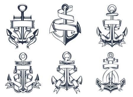 ancre marine: Marine ou nautiques navires th�me ancrage ic�nes avec des banderoles de ruban blanc enlac�s autour des ancres, illustration vectorielle