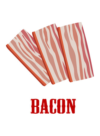 fattening: Colored bacon icon with three rashers of fatty pork bacon isolated on white Illustration