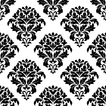 dainty: Close up black and white damask floral pattern design with dainty retro flowers