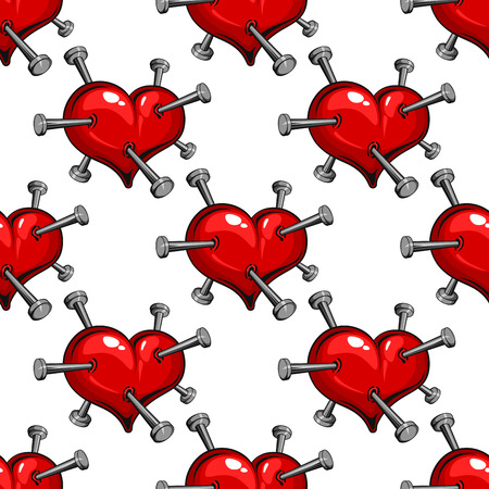 heart pain: Seamless pattern of a nail studded red heart symbolic of the pain of love or ill health