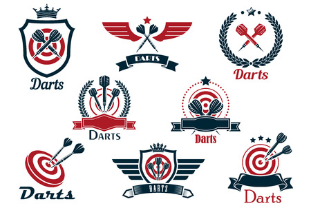 Darts heraldic sports emblems and symbols with crossed darts, laurel wreath, target and ribbons for sporting design Vector