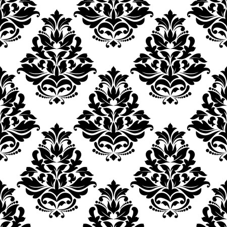 foliate: Damask style bold arabesque seamless pattern with a large floral and foliate motif