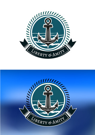 amity: Nautical badges with ships anchors in circular rope frames with a ribbon banner and text  Liberty and Amity  below, one on white, the other on blue background