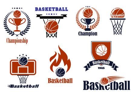 canestro basket: Emblemi di gioco di basket e banner set con la palla, basket, corona, nastro, trofeo e fuoco elementi di design