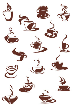 Set of hot coffee beverage doodle sketches showing steaming cups and mugs of hot coffee or chocolate, isolated on white Vector