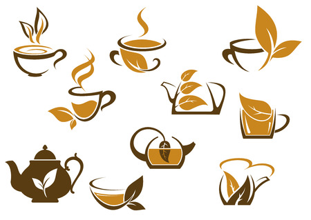 steam of a leaf: Set of organic and herbal tea icons with brown and white vector doodle sketches of hot steaming cups and teapots with fresh leaves Illustration