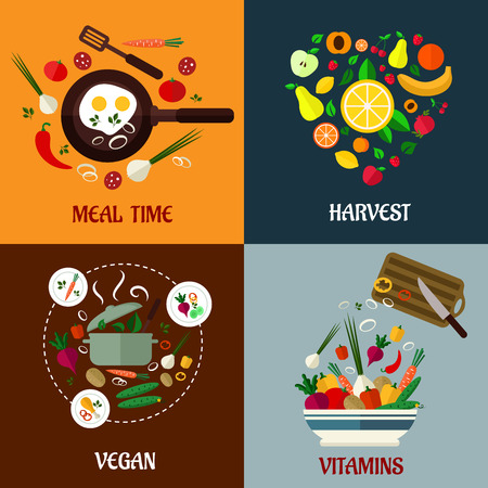 Colorful flat food poster designs with fresh vegetables and ingredients depicting meal time, harvest, vegan diet and vitamins and nutrition, vector illustration