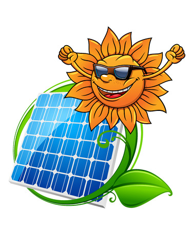 photovoltaic panel: Happy hip sun in sunglasses above a blue photovoltaic panel encircled by green leaves, vector illustration