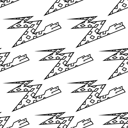 Seamless background pattern of a zigzag cartoon boa snake with a diamond pattern in a black and white line drawn Vector