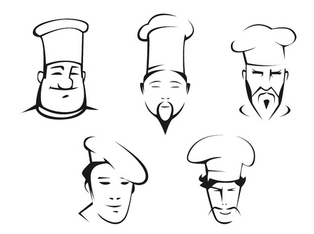 chefs cooking: Black and white sketches of chefs heads in traditional white toquesfor restaurant, culinary and cooking design