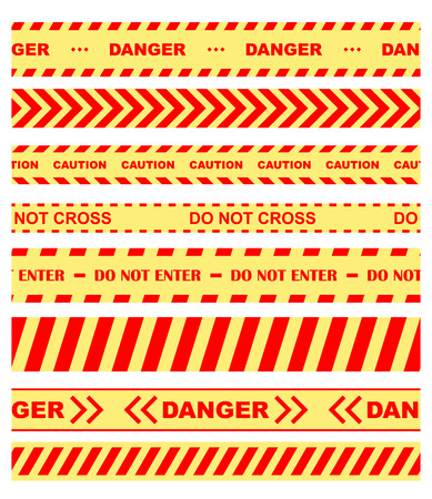 barrier tape: Set of colored warning, danger and chevron ribbons or tape restricting entry in orange and yellow