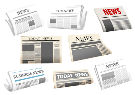 Newspaper icons with headers isolated on white for media design