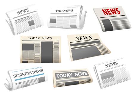 Krant pictogrammen met headers geïsoleerd op wit voor media design Stockfoto - 34140961