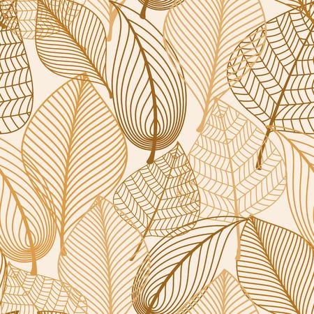Atumnal シームレス パターン背景、壁紙、テキスタイル デザインのシルエット スタイルで茶色の葉を持つ