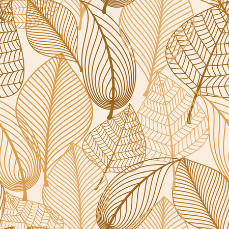 Atumnal seamless pattern with brown leaves in silhouette style for background, wallpaper and textile design Vector