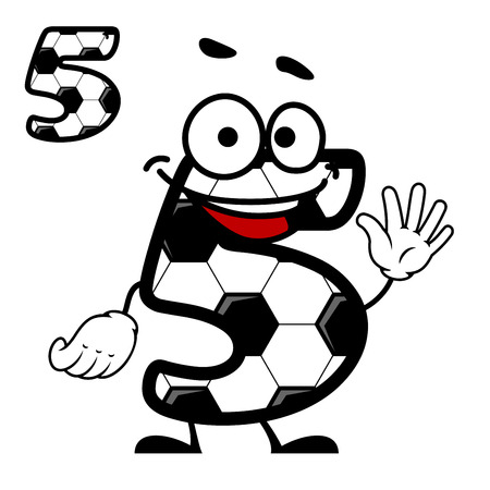 Happy cartoon number 5 character with a soccer ball hexagonal pattern waving at the viewer, with a second straight variant with no face Vector