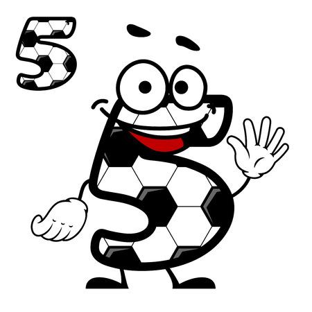 Cartoon felice numero 5 di carattere con un disegno esagonale pallone da calcio agitando lo spettatore, con una seconda variante dritto senza volto